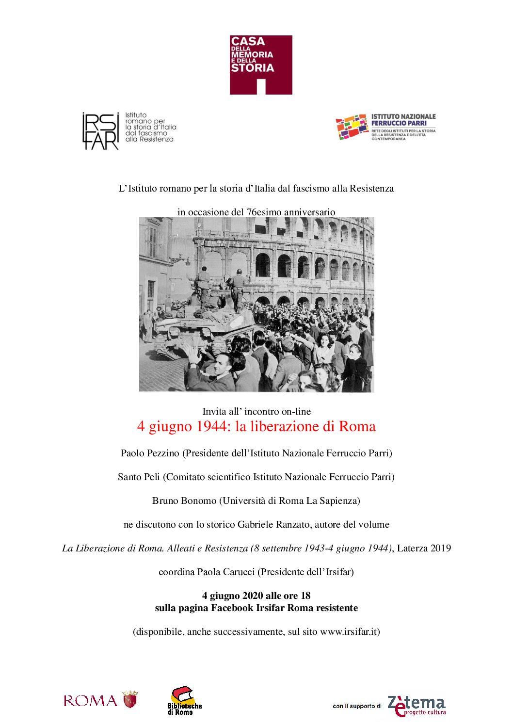4 giugno 1944. La Liberazione di Roma | Incontro on-line